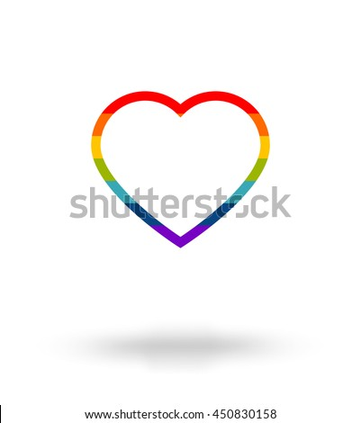 LGBT symbol, Pride, Freedom heart in rainbow colors with space for text - stock vector