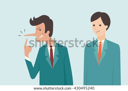 Liar businessman who has long nose with his cheating facial expression. Vector illustration business concept of cheating, lying, metaphor to Pinocchio's nose.  - stock vector