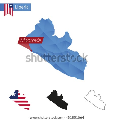 Liberia blue Low Poly map with capital Monrovia, versions with flag, black and outline. Vector Illustration. - stock vector