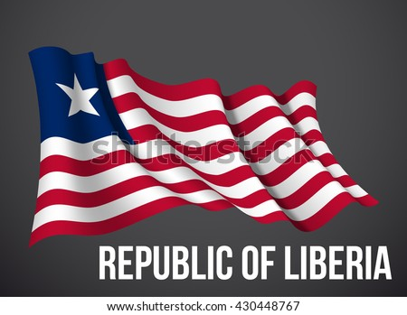 Liberia flag vector waving in the wind illustration isolated on a dark background. Modern banner to the day of independence country. Holiday card with standard Spirit of the union National Day.