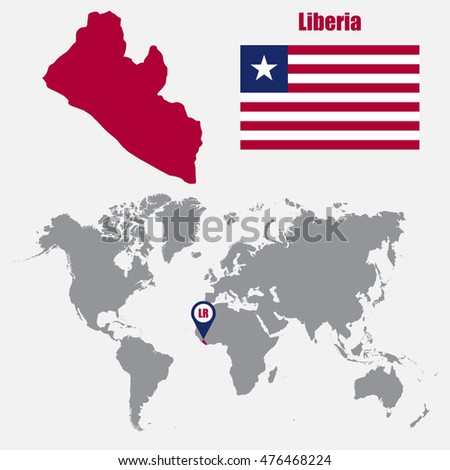 Liberia africa stock images royalty free images vectors liberia map on a world map with flag and map pointer vector illustration gumiabroncs Gallery