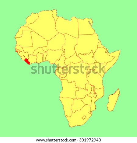 Liberia vector map isolated on Africa map. Editable vector map of Africa.  - stock vector