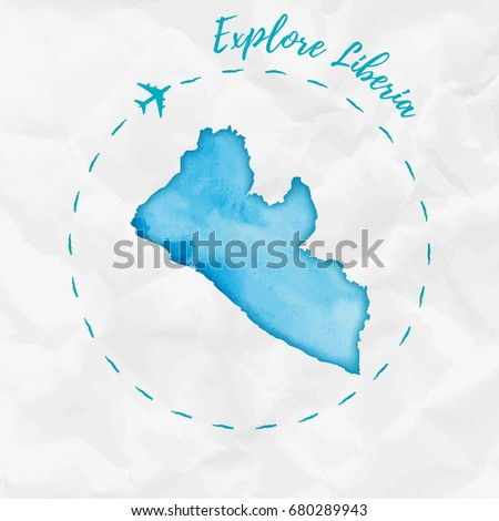 Liberia watercolor map turquoise colors travel stock vector liberia watercolor map in turquoise colors travel poster with airplane trace and handpainted country freerunsca Gallery