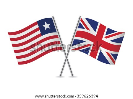 Liberian and British  flags. Vector illustration.