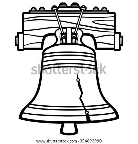 liberty bell illustration stock vector 354893990 shutterstock rh shutterstock com liberty bell clipart black and white liberty bell clipart black and white