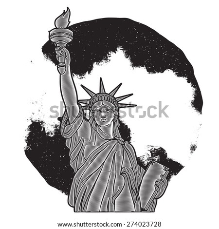 Liberty statue engraving vintage illustration