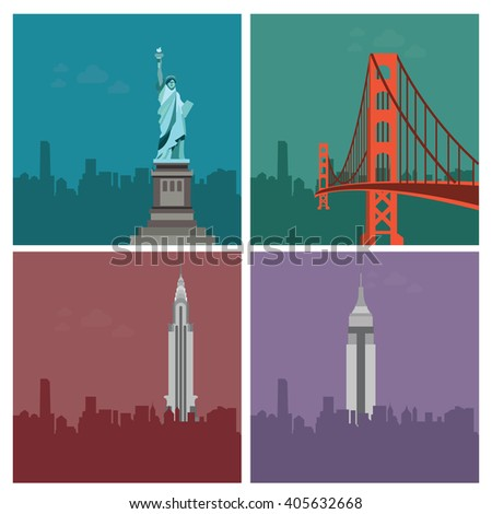 liberty statue,Golden Gate and skyscreapers - stock vector