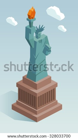 Liberty statue in isometric vector - stock vector