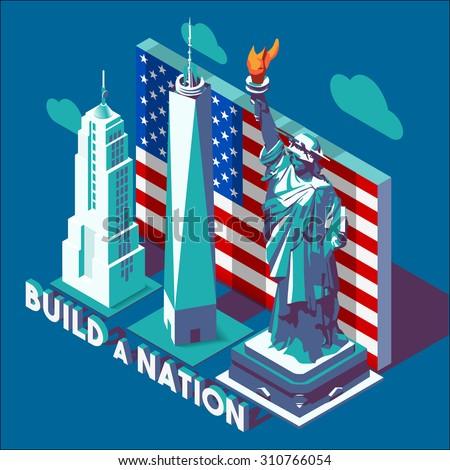 Liberty Statue Isometric 3D Flat Landmark NYC New York Manhattan Usa Buildings Map Elements Design Build Nation Slogan Template Web Mockup Illustration Concept Vector JPEG JPG EPS 10 Image Drawing AI - stock vector