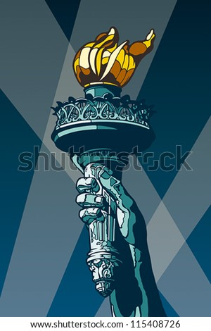 Liberty Torch. USA landmark and symbol of Freedom and Democracy. EPS 8, CMYK