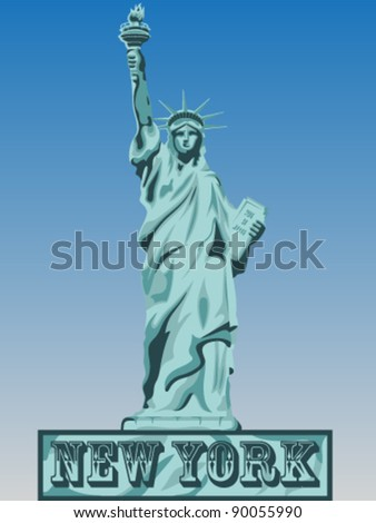 Liberty Vector Blue Shadows Silhouette - stock vector