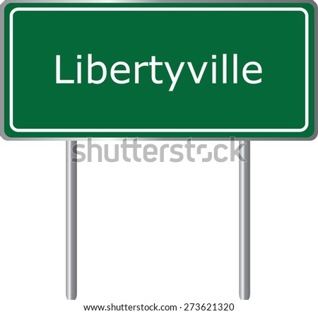Libertyville, Alabama, road sign green vector illustration, road table, USA city - stock vector