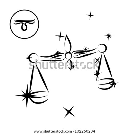 Libra/Lovely zodiac sign silhouette formed by stars isolated on white, layered eps10 format available - stock vector