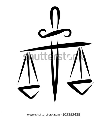 libra of justice, symbol in simple black lines - stock vector