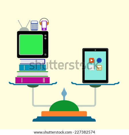 Libra with  computer tablet, books, tv, calculator