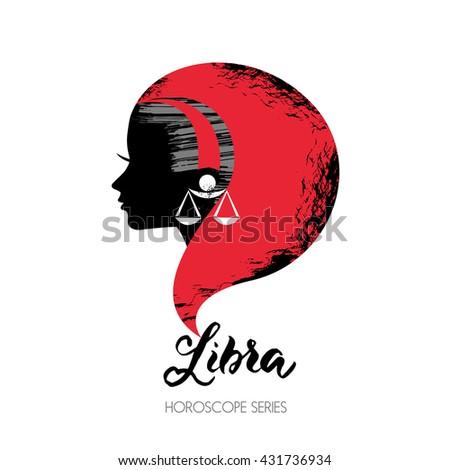 Libra zodiac sign. Beautiful girl silhouette. Vector illustration. Horoscope series - stock vector