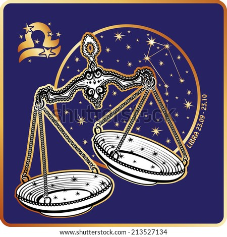 Libra zodiac sign. Horoscope.Metal retro scales with cups and chains.Circle with the constellation and stars.Golden and white figure on blue background.Graphic Vector Illustration in retro style.   - stock vector