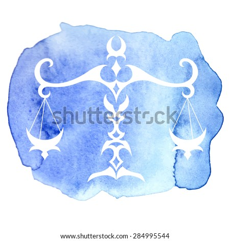 Libra zodiac sign on watercolor background. Vector Illustration  - stock vector