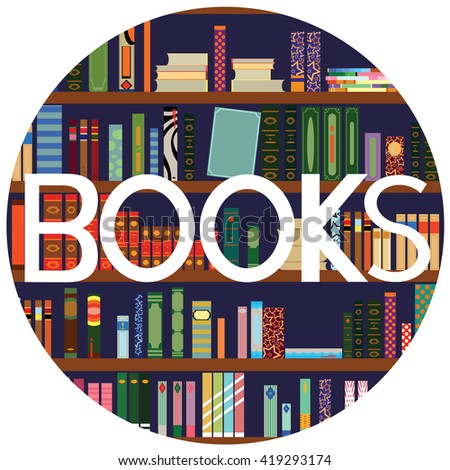 Library. Books and Knowledge. Vector flat illustration with text. - stock vector