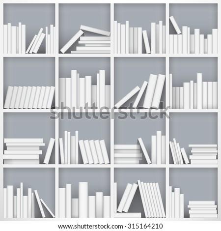 Library bookshelf full of books. Vector Illustration - stock vector
