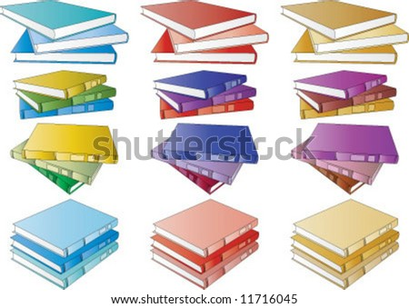 Library boots in different colors and different view - stock vector