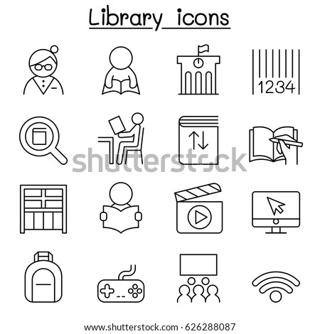 Library icon stock images royalty free images vectors library icon set in thin line style ccuart Choice Image