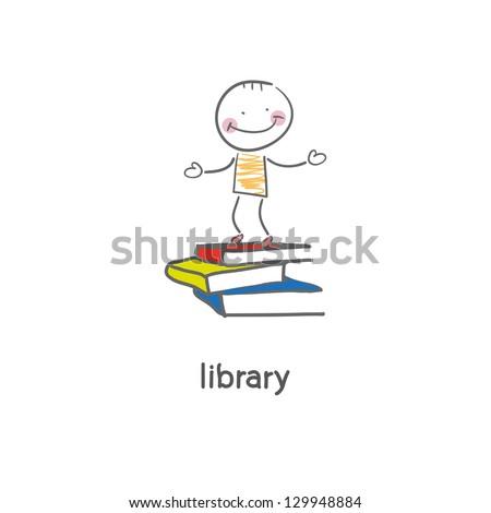 Library. Illustration. - stock vector