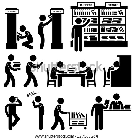 Library Librarian Bookstore People Student Stick Figure Pictogram Icon - stock vector