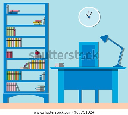 Library Modern interior with furniture - Bookcases and desk inside house or office. Flat Vector Illustration.