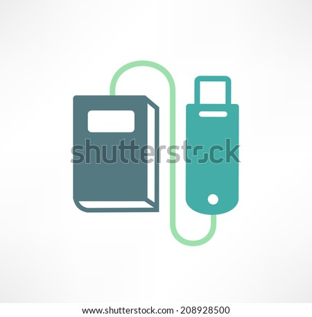Library on a flash drive - stock vector