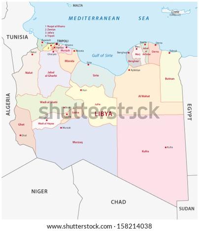 libya administrative map - stock vector