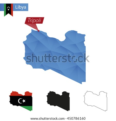 Libya blue Low Poly map with capital Tripoli, versions with flag, black and outline. Vector Illustration. - stock vector