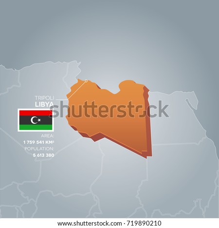 Libya 3d map information area population stock vector 719890210 libya 3d map with information of area and population of the country publicscrutiny Images