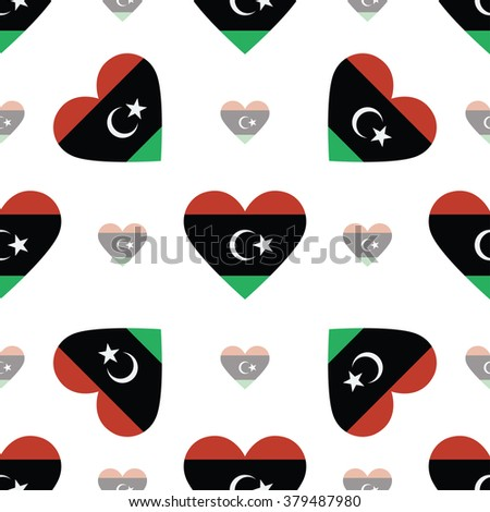 Libya flag heart seamless pattern. Patriotic Libya flag background. Country flag in the shape of heart. Vector seamless pattern. - stock vector
