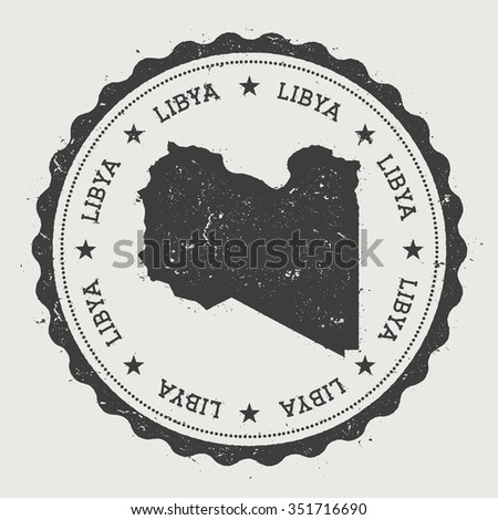 Libya. Hipster round rubber stamp with Libya map. Vintage passport stamp with circular text and stars, vector illustration - stock vector