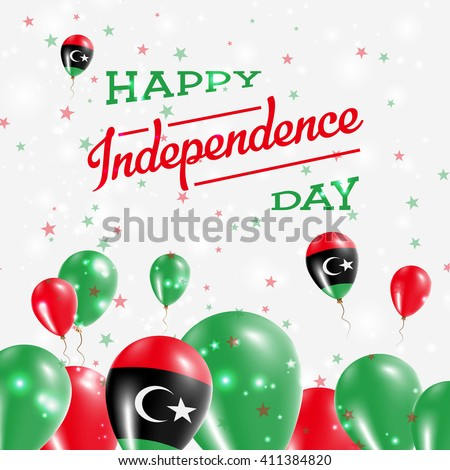 Libya Independence Day Patriotic Design. Balloons in National Colors of the Country. Happy Independence Day Vector Greeting Card. - stock vector