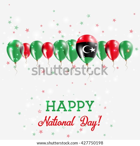 Libya Independence Day Sparkling Patriotic Poster. Happy Independence Day Card with Libya Flags, Confetti, Stars, Bokeh and Glitter. - stock vector