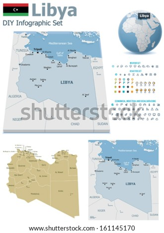 Libya maps with markers - stock vector