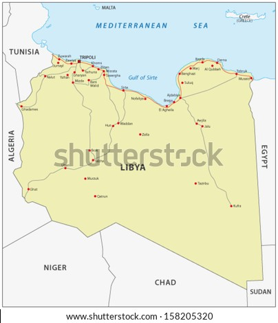 Libya Road Map Stock Vector 158205320 Shutterstock
