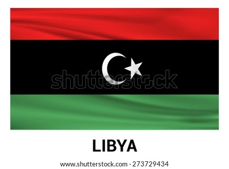 Libya Waving flag isolated vector in official colors and Proportion Correctly. waving wind Flag realistic fabric effect. country's name label in bottom - stock vector
