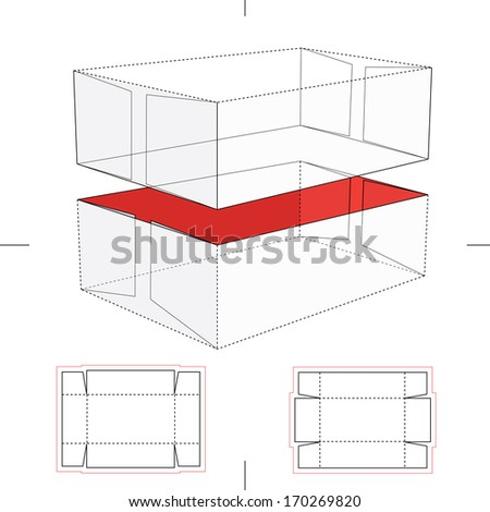 Lid and Tray Box with Blueprint Layout - stock vector
