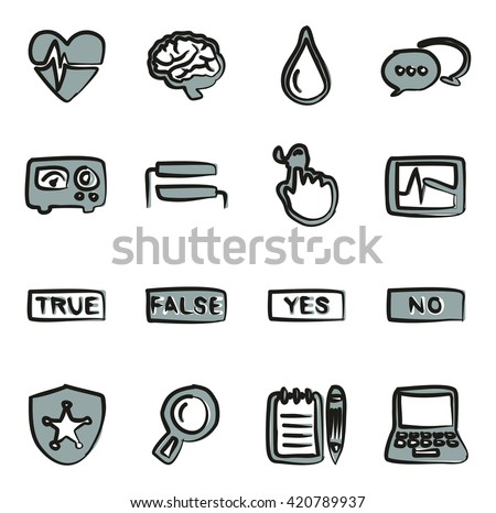 Lie Detector Icons Freehand 2 Color