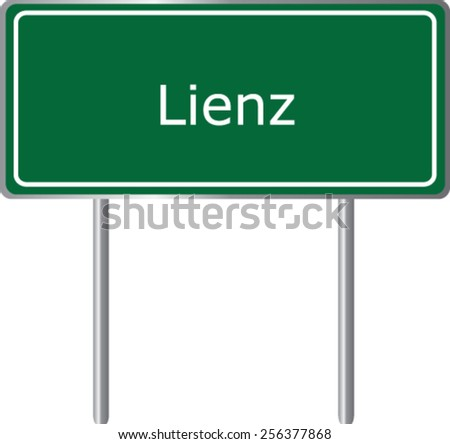 Lienz, Austria, road sign green vector illustration, road table - stock vector
