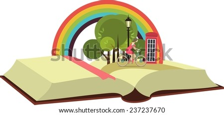 Lies an open book concept it is possible to see different places and adventures - stock vector