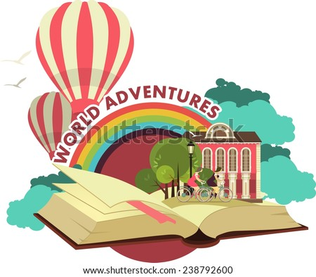 Lies an open book concept it is possible to see different places and adventures emblem label - stock vector
