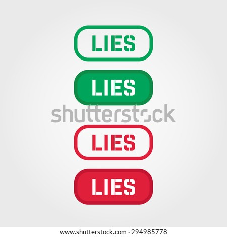 LIES Red and green stamp text vector over a white background. - stock vector