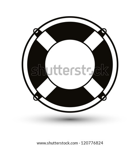 Life belt simplistic single color icon. - stock vector