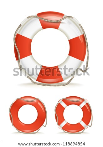 life-buoy collection isolated on white - stock vector