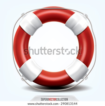 Life buoy isolated on white. High quality, detailed vector illustration