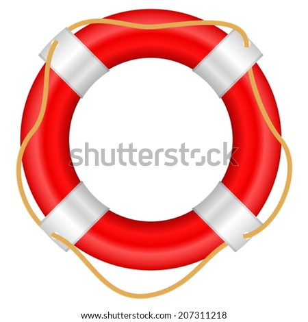 Life buoy on a white background.